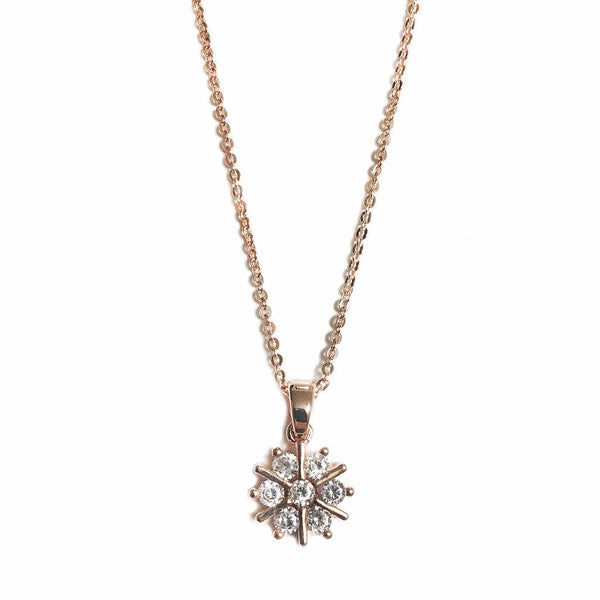 Snowflake Necklace in Rose Gold - MenriThings