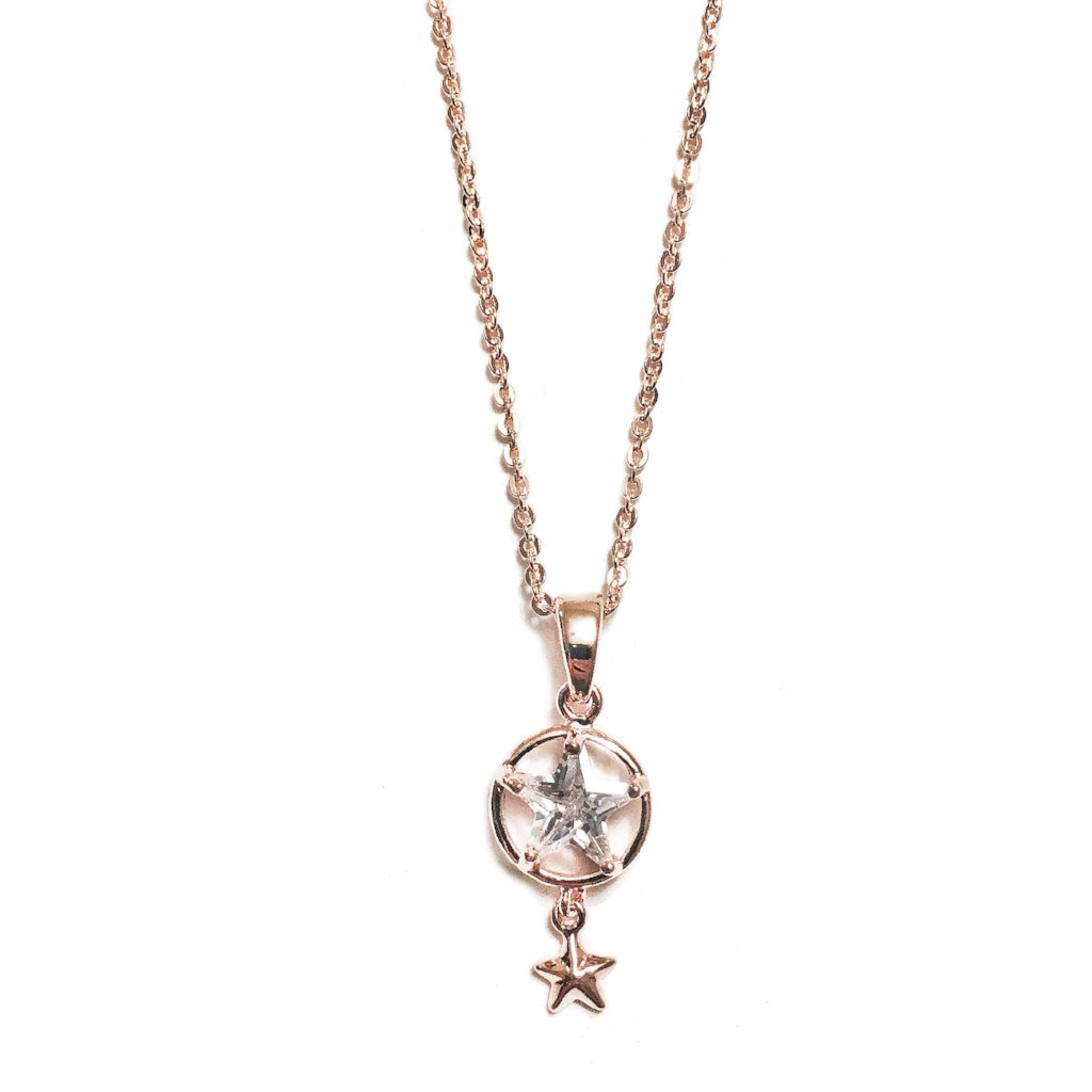 Rhinestone Star Necklace in Rose Gold