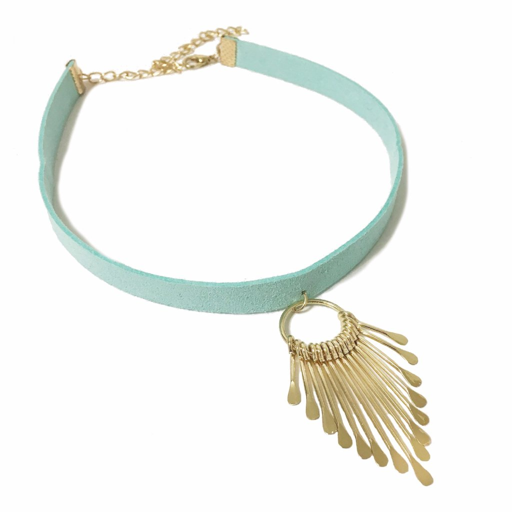 Mint Green Abstract Choker - MenriThings