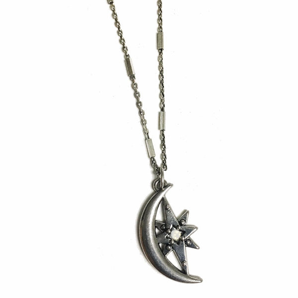 Crescent Moon and Northern Star Necklace