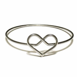 Intertwined Heart Bangle in Silver - MenriThings
