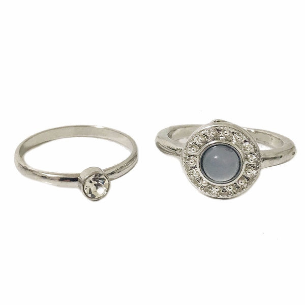 Ocean Stone Ring and Dainty Crystal Ring