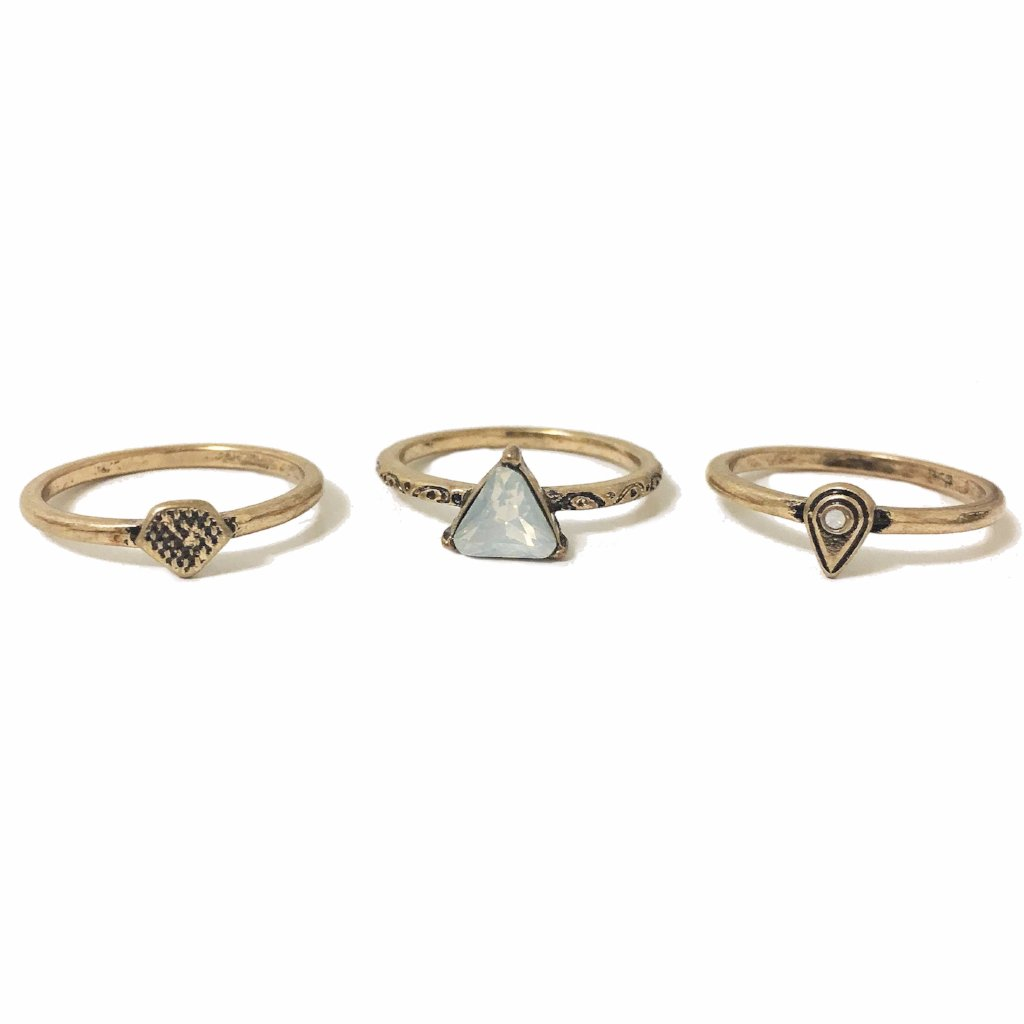 Dainty Opal Stone Ring Set - MenriThings