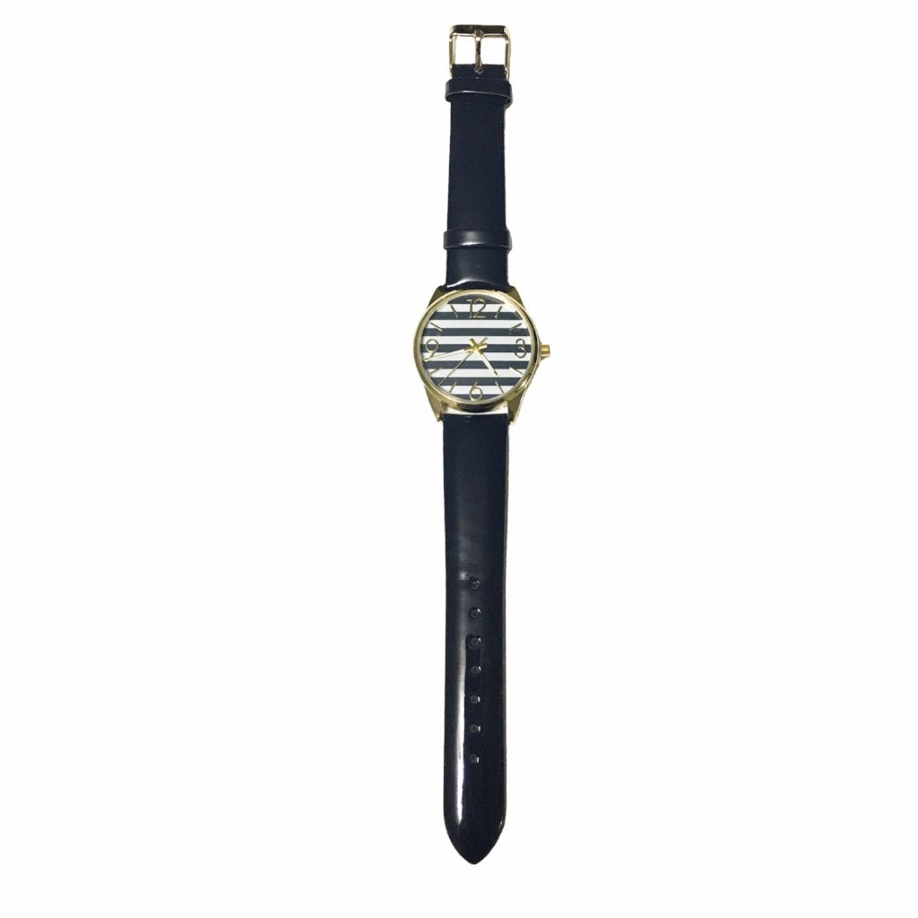 Navy Pinstriped Analog Watch