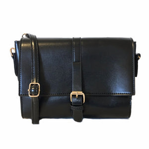 Smooth Black Crossbody Satchel