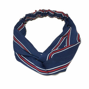 Ribbed Twist-Front Headwrap - Navy - MenriThings