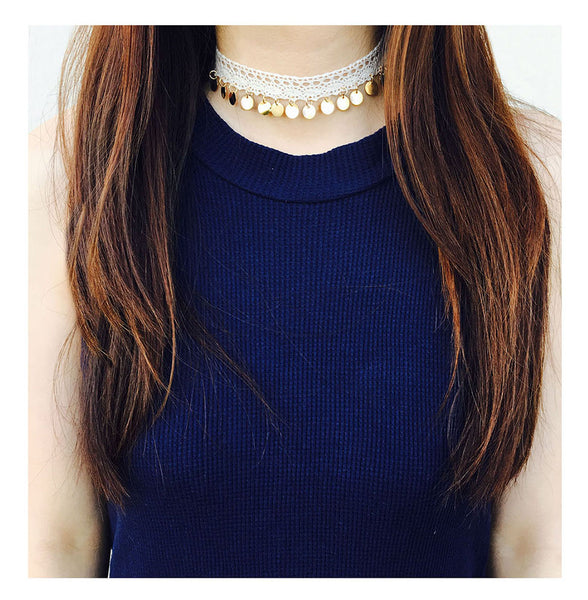 Lace Choker with Gold Sequin Pendants
