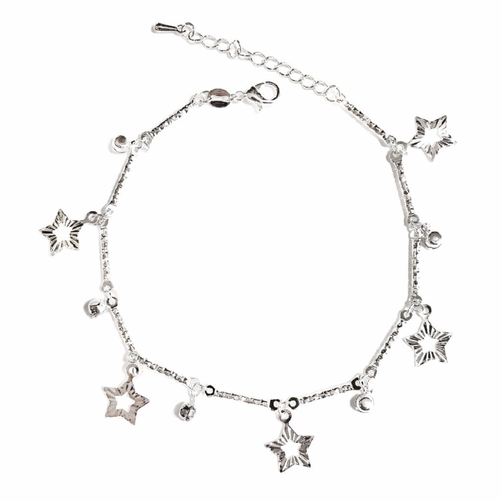 Star Anklet in Silver