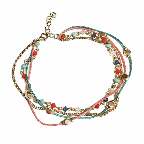 Colorful Four Layer Anklet