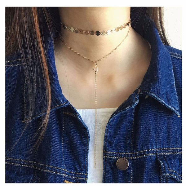 Sequin Choker with Rhinestone Hanging Necklace