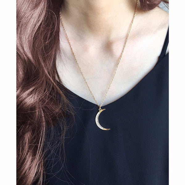 Rhinestone Moon Necklace - MenriThings