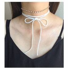 Rhinestones Choker and Faux Suede Choker