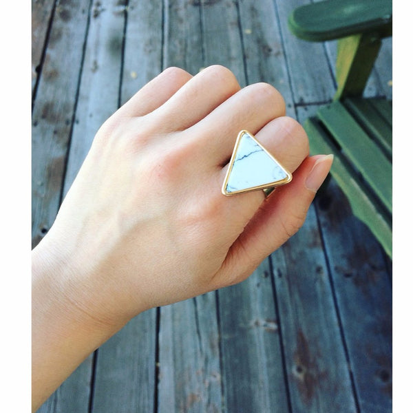 Triangle Marble/Obsidian Ring