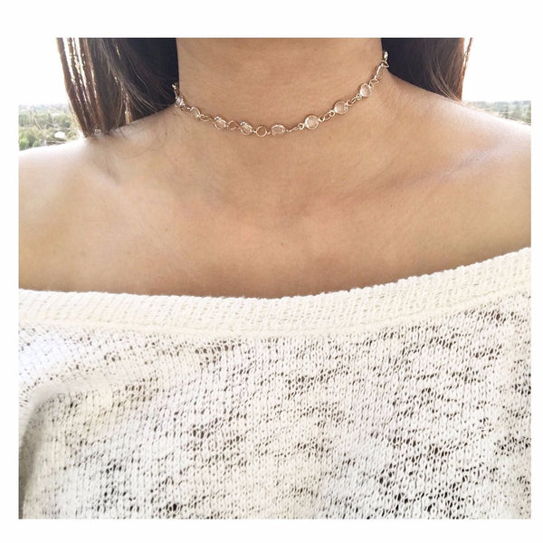 Linked Crystal Choker Necklace