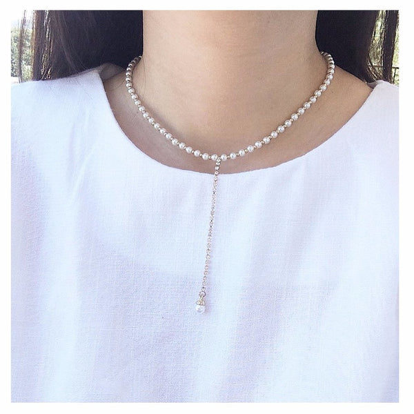 Linked Faux Pearl Lariat - MenriThings