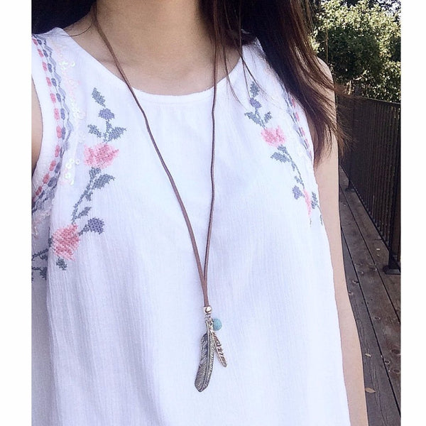 Faux Suede Feather Necklace