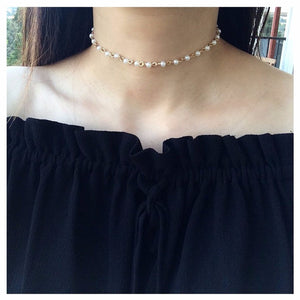 Linked Faux Pearl Choker Necklace