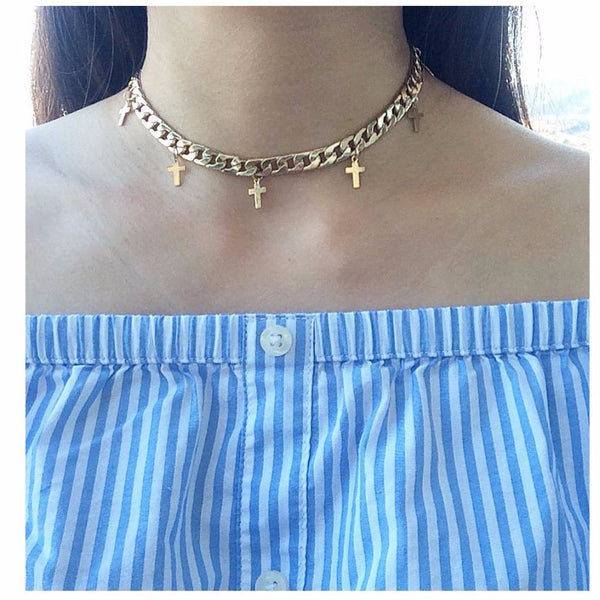 Golden Cross Choker Necklace - MenriThings