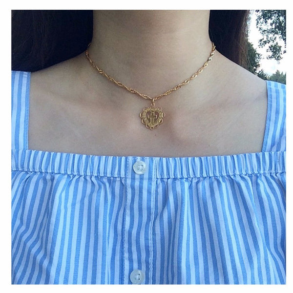 Amor Cross Choker Necklace