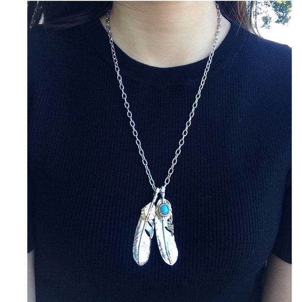 Chain Link Feather Necklace