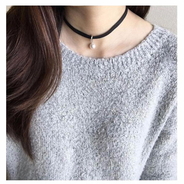 Faux Pearl drop Choker