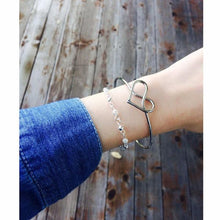 Intertwined Heart Bangle in Silver