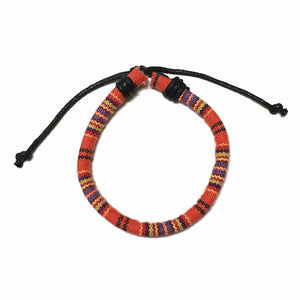 Woven Ethnic Bracelet - Red-Orange - MenriThings