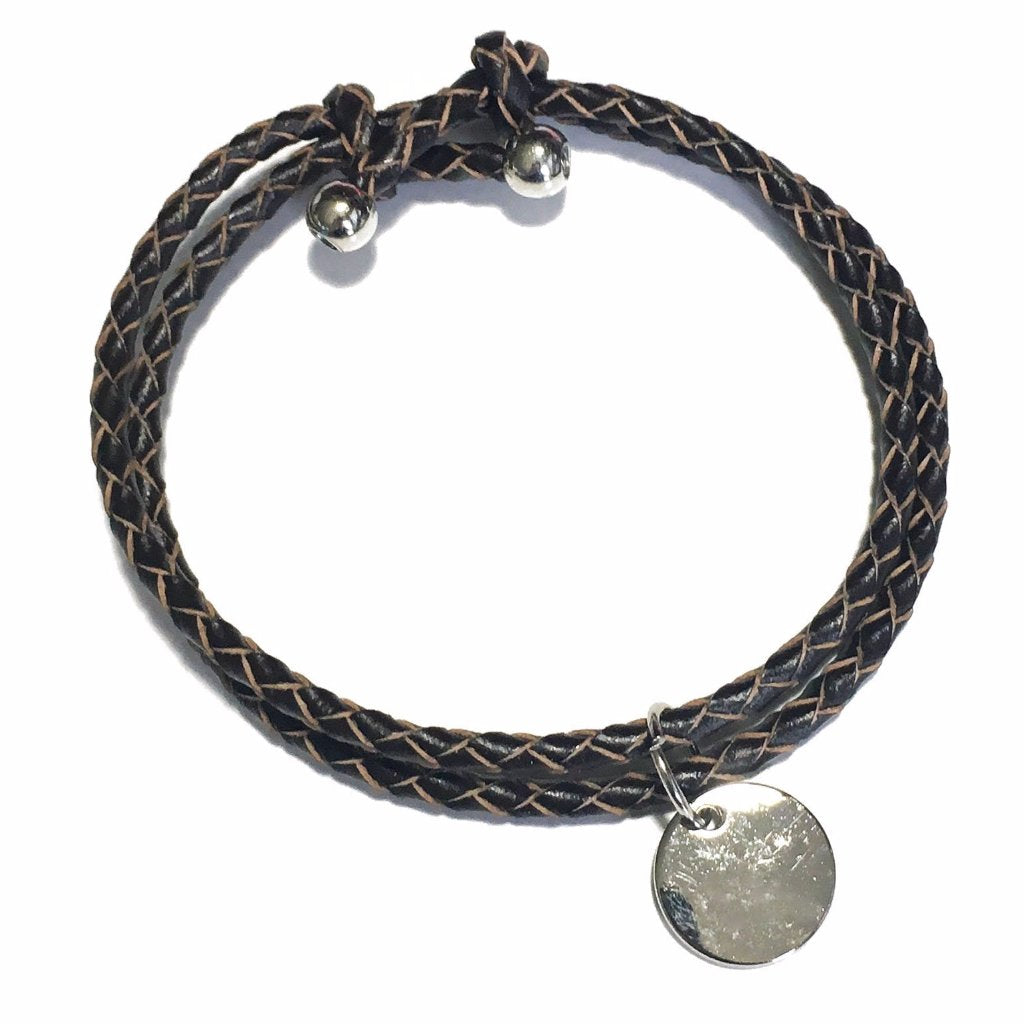 Dark Brown Faux Leather Layered Bracelet