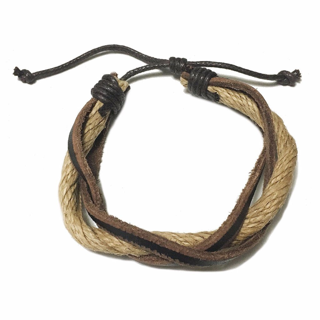 Faux Leather and Rope Bracelet