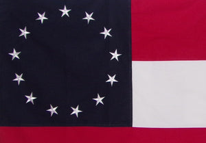 COTTON 13 STAR 1ST FIRST NATIONAL CONFEDERATE FLAG - EMBROIDERED STARS AND SEWN STRIPES