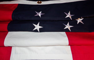 Image of Robert E Lee headquarters cotton flag sewn details