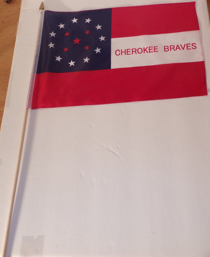 1 DOZEN 12 X 18 CHEROKEE BRAVES FLAGS - CONFEDERATE STICK FLAGS