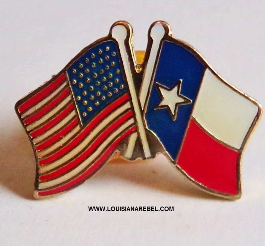 Texas flag / USA flag hatpin