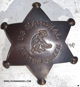 SUTTER CREEK MARSHALL BADGE - BRASS REPRODUCTION
