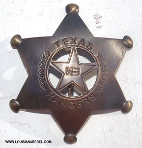TEXAS RANGERS BADGE - BRASS REPRODUCTION