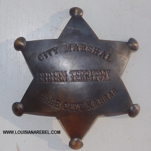 INDIAN TERRITORY - CITY MARSHALL BADGE - BRASS REPRODUCTION