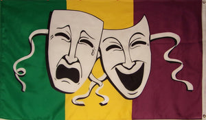 COMEDY AND TRAGEDY MARDI GRAS FLAG