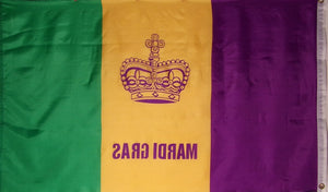 MARDI GRAS FLAG - KINGS CROWN