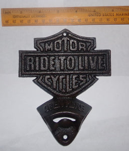 RIDE TO LIVE BOTTLE OPENER - CAST IRON MOTORCYCLE OPENER