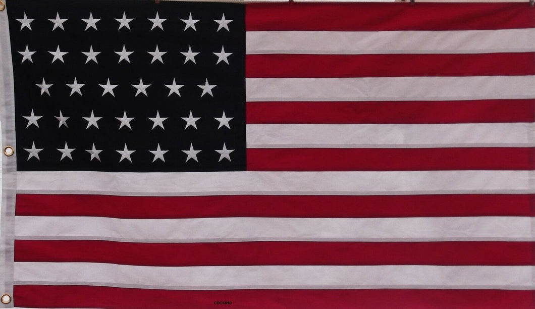 COTTON 34 STAR USA HISTORICAL FLAG - SEWN AND EMBROIDERED