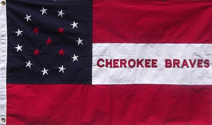 Embroidered Cotton Cherokee Braves Flag - Confederate