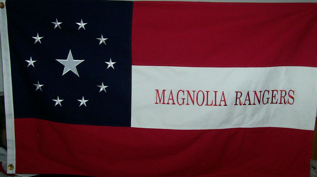 HEAVY COTTON 3 X 5 TEXAS MAGNOLIA RANGERS FLAG - CSA - CIVIL WAR