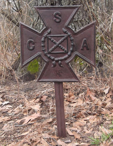 Cast Iron CSA Plaque with Stake - Reproduction Confederate Marker
