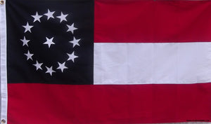 EMBROIDERED & SEWN COTTON JEFFERSON DAVIS FLAG