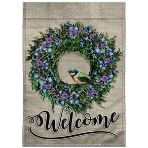 WELCOME WREATH AND BIRD 12X18IN GARDEN FLAG - DOUBLE SIDED