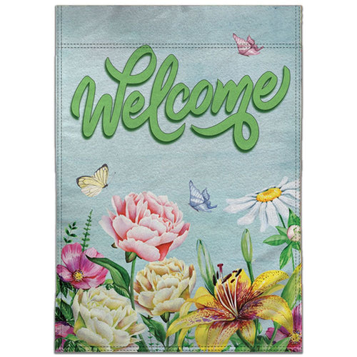 WELCOME (SPRING FLOWERS) 12X18IN GARDEN FLAG - 100% DOUBLE SIDED