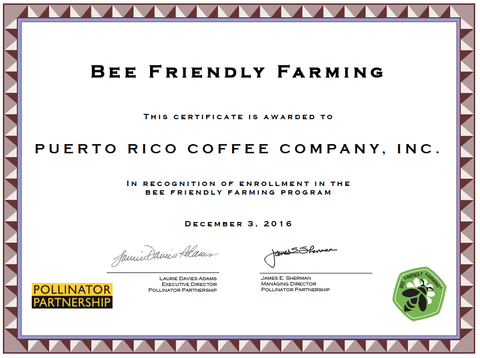 Puerto Rico Coffee Company Pollinator Partnership certificate of Bee Friendly Farming