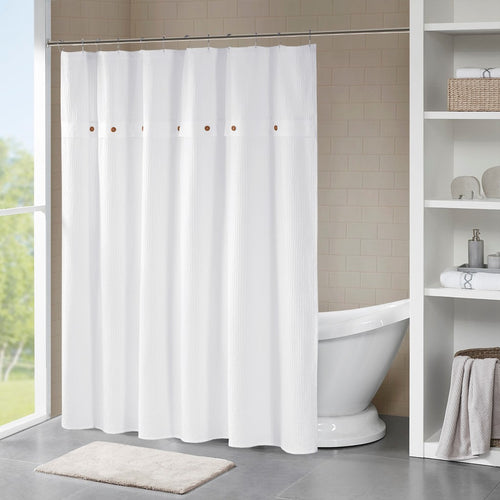 Finley Waffle Weave Shower Curtain