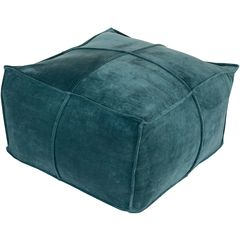 Surya Cotton Velvet Pouf - Teal