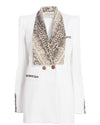 Aida Double Breasted Blazer White Snake Print